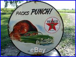 Vintage 1951 The Texaco Company Porcelain Enamel Gas Pump Sign Texas Co Petro