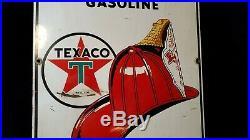 Vintage 1953 Texaco Fire Chief Gasoline Gas Pump Plate 18 Porcelain Metal Sign