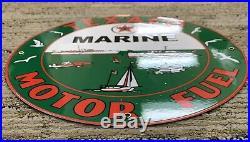 Vintage 1954 Texaco Marine Motor Fuel Porcelain Enamel Oil Gas Fuel Pump Sign