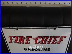 Vintage 1956 Porcelain gas pump Texaco Fire Chief sign 18 x 12