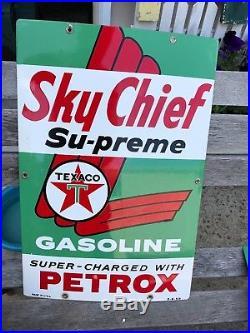 Vintage 1959 Porcelain Texaco Sky Chief Gas Pump Signs Antique Old