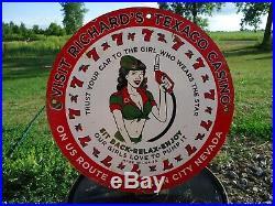 Vintage 1959 Texaco Us Route 50 Porcelain Enamel Gas Pump Sign Carson City Nv
