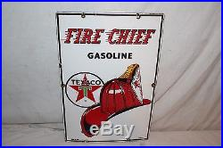 Vintage 1960 Texaco Fire Chief Gasoline Gas Pump Plate 18 Porcelain Metal Sign
