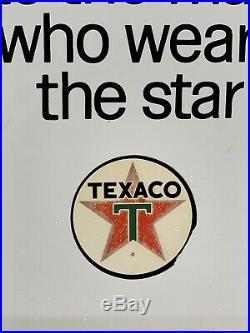 Vintage 1960s Texaco Porcelain Gas Pump Face Plate Sign Sky Chief