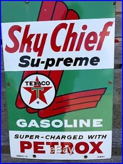 Vintage 1961 Porcelain Texaco Sky Chief Gas Pump Sign Antique Old