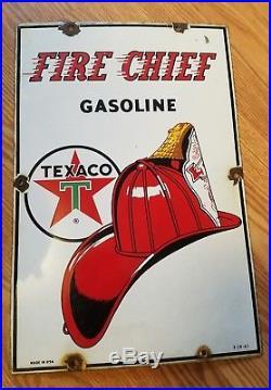 Vintage 1961 Texaco Fire Chief Gasoline Gas Pump Plate 18 Porcelain Metal Sign