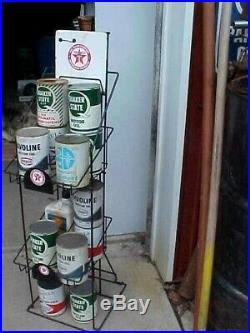Vintage 1970's Antique Texaco Oil Can Display Rack Gas Pump Service Station