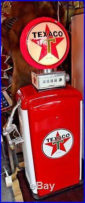 Vintage 1970s Texaco Gas Pump turned Light, Beautifully Restored