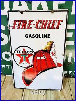 Vintage Antique 1940 Early Original Texaco Fire Chief Porcelain Sign Gas Pump