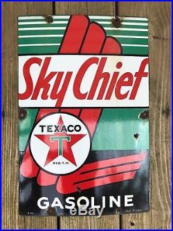 Vintage Original 1940 Texaco Sky Chief Gasoline Porcelain Gas Pump Plate Sign