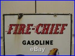 Vintage Original 1941 Texaco Fire Chief Gas Pump Advertising Sign Petroliana