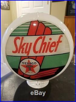 Vintage Original Sinclair Texaco Sky Chief Gas Pump Globe Complete