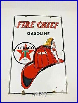 Vintage Original Texaco Fire Chief Porcelain Gas Pump Sign 1955 18 x 12