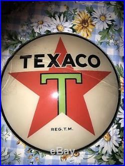 Vintage Original Texaco Gas Pump Globe Lens Black T