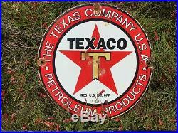 Vintage Original Texaco Gas Pump Sign Dated 10-6-33