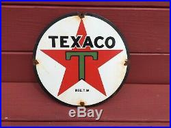 Vintage Original Texaco Porceclain Advertising Gas Pump Plate Sign 11 1/4