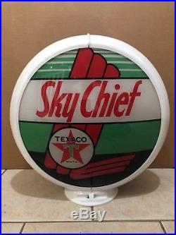 Vintage Original Texaco Sky Chief Gasoline Globe Glass lens Sign Gas Pump