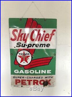 Vintage Original Texaco Sky Chief Porcelain Gas Pump Sign 3-10-63