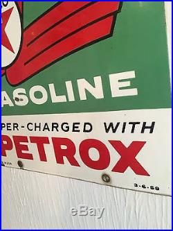 Vintage Original Texaco Sky Chief With Petrox Porcelain Gas Pump Plate Sign. Oil