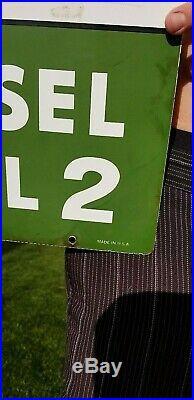 Vintage Porcelain Texaco Diesel #2 Fuel Gas Pump Plate Metal Sign Oil 18X12