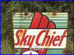 Vintage Rusty Texaco Skychief Gasoline Porcelain Gas Pump Sign