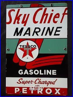 Vintage Sky Chief Marine porcelain gas pump sign metal ship beach lake boat sail