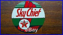 Vintage Sky Chief Texaco Porcelain Sign Gas Oil Pump Late Service Station Rare