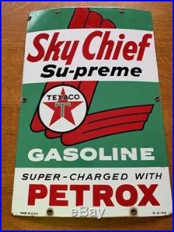 Vintage Sky Chief Texaco Porcelain gas pump plate 1959