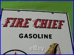 Vintage TEXACO Fire Chief Gasoline Porcelain Enamel Sign Gas Oil Pump 3-1-60