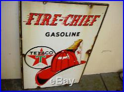 Vintage TEXACO Fire-Chief Porcelain Gas Pump Sign Dated 3 40