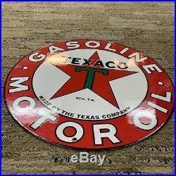 Vintage Texaco 11 3/4 Gasoline Motor Oil Gas Station Pump Sign Red Texas Metal