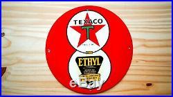 Vintage Texaco Ethyl New York Porcelain Sign Gas Oil Pump Plate Service Station
