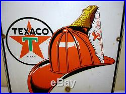 Vintage Texaco Fire Chief Dated 3 -4 47 Porcelain Gas Station Pump Plate Sign