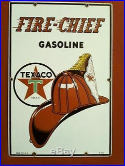 Vintage Texaco Fire Chief Porcelain Gas Pump Plate dated 1942