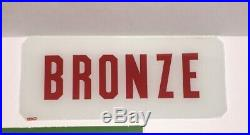 Vintage Texaco Gas Pump Glass Signs Sky Chief Fire Chief Bronze