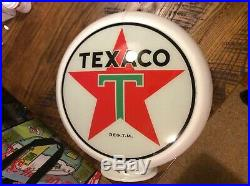 Vintage Texaco Gas Pump Globe 13&1/2 glass