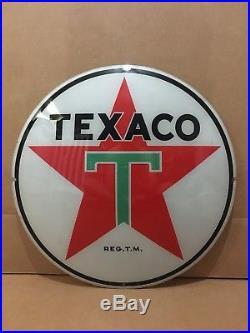 Vintage Texaco Gas Pump Globe Lens Glass Top Sign Garage Wall Decor Oil Truck