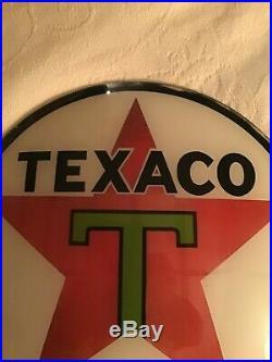 Vintage Texaco Gas Pump Globe Lens Glass Top Sign Wall Decor Oil Hull 1936