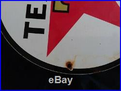 Vintage Texaco Gasoline / Motor Oil Porcelain Gas Pump Sign