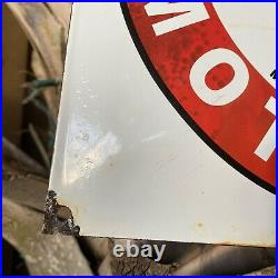 Vintage Texaco Gasoline Motor Oil Porcelain Metal Sign USA Gas Pump Plate