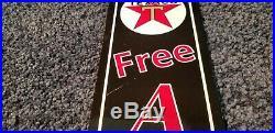 Vintage Texaco Gasoline Porcelain Gas Service Station Free Air Pump Plate Sign
