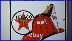 Vintage Texaco Gasoline Porcelain Sign Gas Oil Metal Station Pump Chief Rare Ad