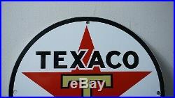 Vintage Texaco Gasoline Porcelain Sign Gas Oil Metal Station Pump Red Star Rare