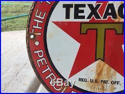 Vintage Texaco Gasoline porcelain Gas Pump Sign Dated 10-33