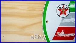 Vintage Texaco Marine Life Porcelain Sign Pump Plate Gas Oil Serevice Station Nr