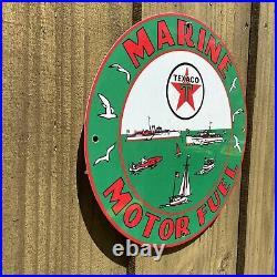 Vintage Texaco Marine Motor Fuel Porcelain Sign 12 Chevron Gas Pump Plate Boat