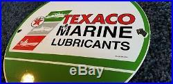Vintage Texaco Marine Porcelain Gas Motor Oil Service Station Pump Plate Sign