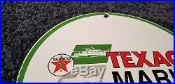 Vintage Texaco Marine Porcelain Gas Oil Service Station Pump Lubricants Sign