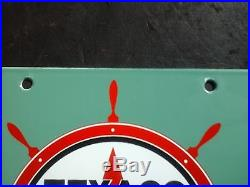 Vintage Texaco Marine White Gasoline porcelain gas pump plate sign boat ship can
