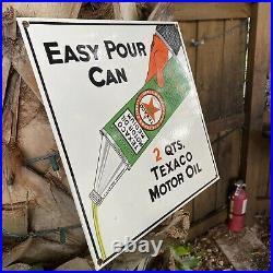 Vintage Texaco Motor Oil Porcelain Metal Sign Gas Station Pump Plate Easy Pour